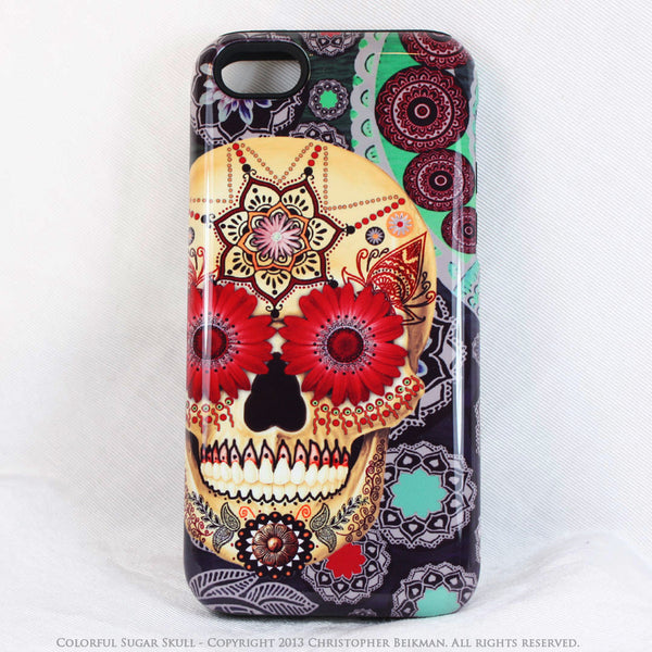 iPhone 5s SE TOUGH Case -Colorful - Sugar Skull Paisley Garden - Dia De Los Muertos - Artistic Case For iPhone 5s SE - iPhone 5 TOUGH Case - 1