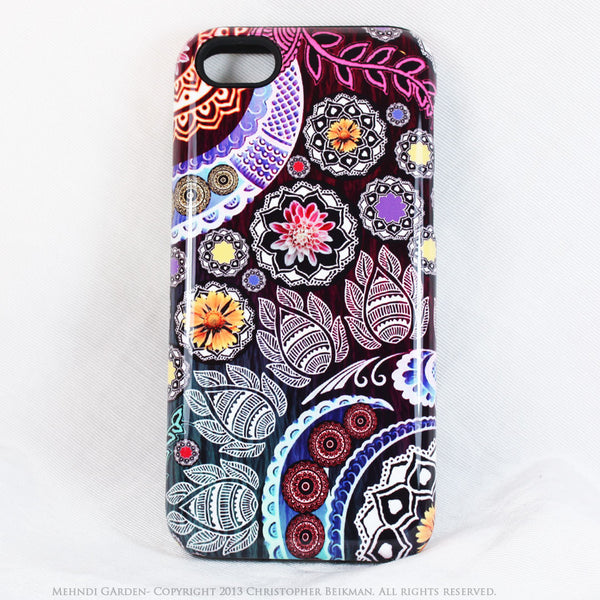 Paisley iPhone 5s SE TOUGH Case - Mehndi Garden - Pink and Purple Paisley Floral Case - Unique iPhone 5s SE Case - iPhone 5 TOUGH Case - 1