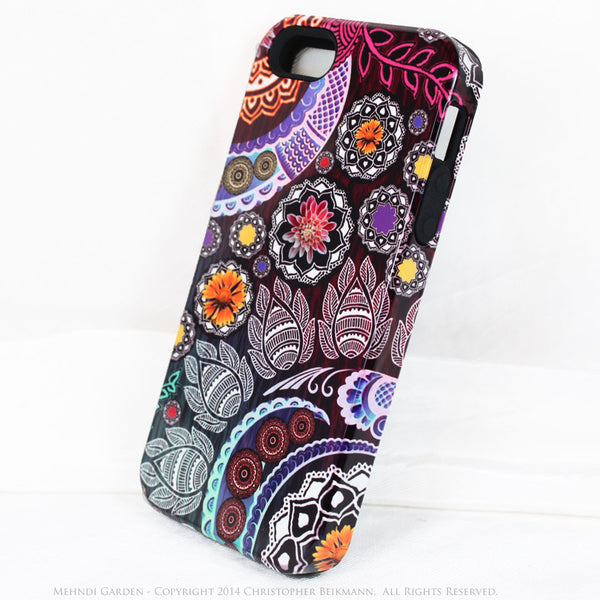 Paisley iPhone 5s SE TOUGH Case - Mehndi Garden - Pink and Purple Paisley Floral Case - Unique iPhone 5s SE Case - iPhone 5 TOUGH Case - 2