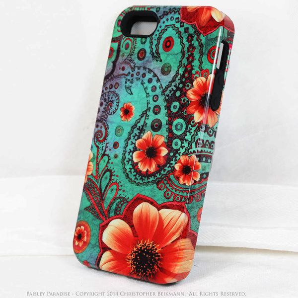 Paisley iPhone 5s SE TOUGH Case - Paisley Paradise - Teal Green and Orange Paisley Floral Art - Unique Case For iPhone 5s SE - iPhone 5 TOUGH Case - 1
