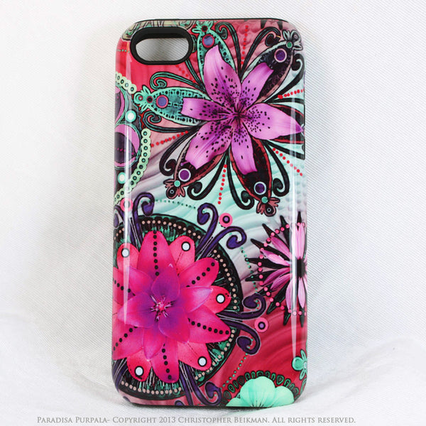 Purple Paisley iPhone 5s SE TOUGH Case - Paradisa Purpala - Retro Paisley Floral Art - Artistic Case For iPhone 5s SE - Da Vinci Case - Artistic Cases for iPhone - 1