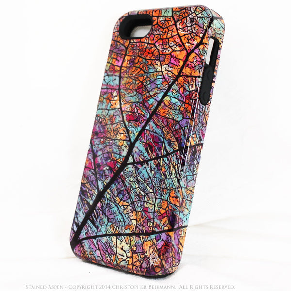 Abstract iPhone 5s SE TOUGH Case - Stained Aspen - Colorful Aspen Leaf Art -  Dual Layer Case by Da Vinci Case - iPhone 5 TOUGH Case - 2