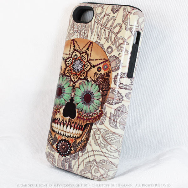 iPhone 5s SE TOUGH Case - Sugar Skull Bone Paisley - Dia De Los Muertos - Artistic Case For iPhone - iPhone 5 TOUGH Case - 2