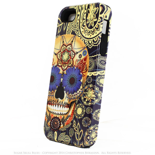 Blue Skull iPhone 5s SE Case - Sugar Skull Blues - Dia De Los Muertos iphone case - Artistic Case For iPhone 5s SE - iPhone 5 TOUGH Case - 2
