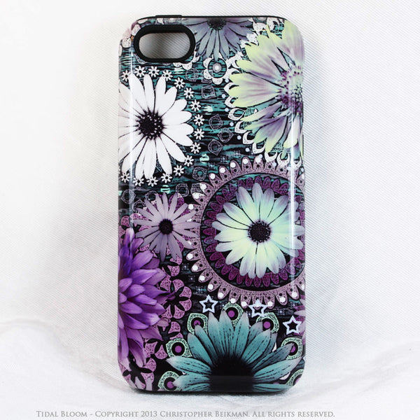 Purple Floral iPhone 5s SE TOUGH Case - Tidal Bloom - Paisley Floral Art - Artistic Case For iPhone 5s SE - iPhone 5 TOUGH Case - 1
