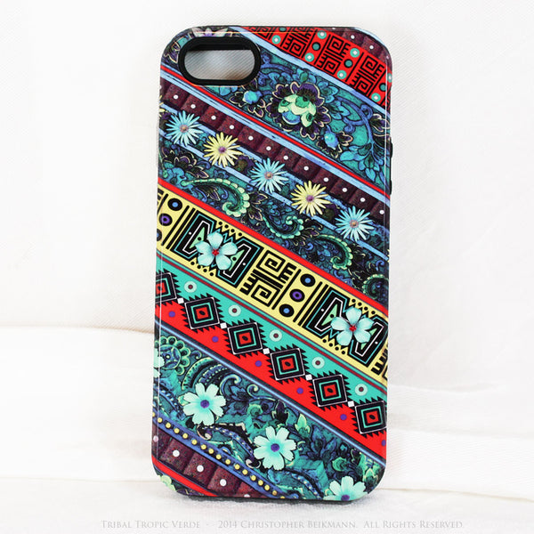 Aztec Floral iPhone 5s SE TOUGH Case - Tribal Tropic Verde - Tropical Green Floral Art - Artisan Case for iPhone 5s SE - iPhone 5 TOUGH Case - 1