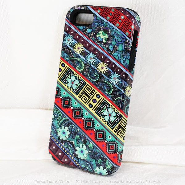 Aztec Floral iPhone 5s SE TOUGH Case - Tribal Tropic Verde - Tropical Green Floral Art - Artisan Case for iPhone 5s SE - iPhone 5 TOUGH Case - 2