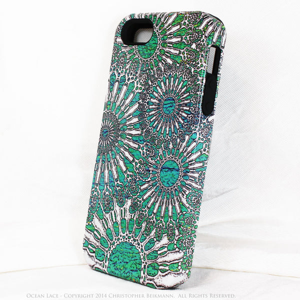 Turquoise iPhone 5s SE TOUGH Case - Unique iPhone 5s SE Case with Urchin Abstract Artwork - Ocean Lace - iPhone 5 TOUGH Case - 2