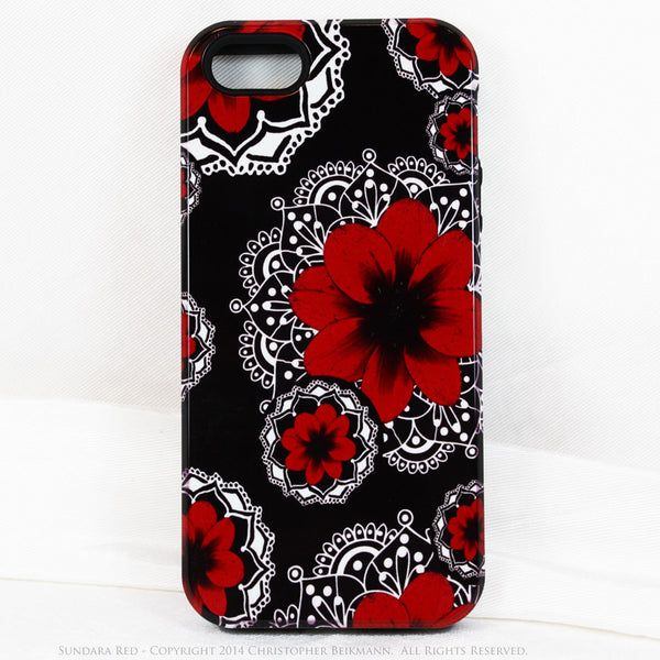 Artistic iPhone 5s SE TOUGH Case - Sundara Red - Paisley Flower Floral Art - Black and Red Mehndi Case for iPhone 5s SE - iPhone 5 TOUGH Case - 1