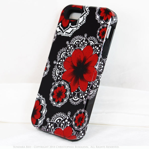 Artistic iPhone 5s SE TOUGH Case - Sundara Red - Paisley Flower Floral Art - Black and Red Mehndi Case for iPhone 5s SE - iPhone 5 TOUGH Case - 2