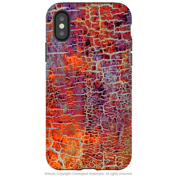 Inferno Crust - iPhone X / XS / XS Max / XR Tough Case - Dual Layer Protection for Apple iPhone 10 - Blue Abstract Art Case