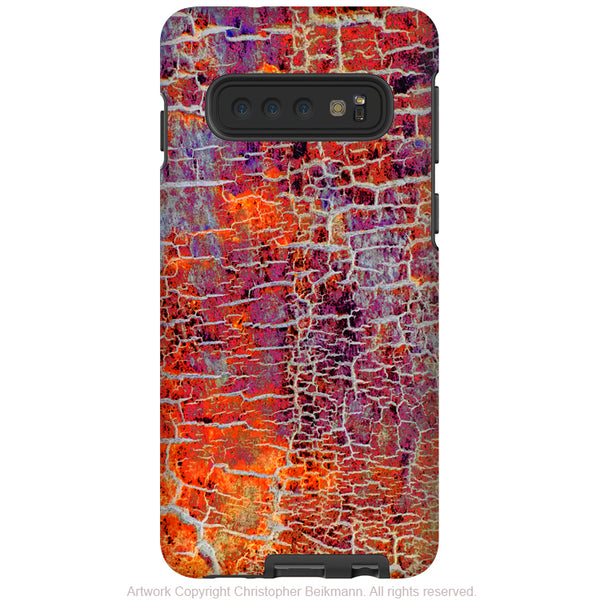 Inferno Crust - Galaxy S10 / S10 Plus / S10E Tough Case - Dual Layer Protection for Samsung S10 - Orange and Purple Cracked Abstract