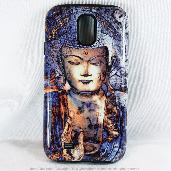 "Blue Buddha Galaxy S4 case - TOUGH Style Protective Case - Meditation Artwork ""Inner Guidance"" - Galaxy S4 TOUGH Case - 1"