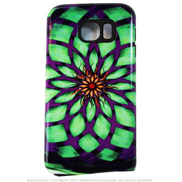 Geometric Lotus Flower Galaxy S6 Tough Case - Kalotuscope - Artisan Galaxy S6 case - Galaxy S6 TOUGH Case - 1