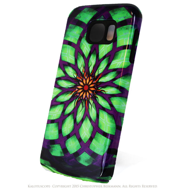 Geometric Lotus Flower Galaxy S6 Tough Case - Kalotuscope - Artisan Galaxy S6 case - Galaxy S6 TOUGH Case - 2