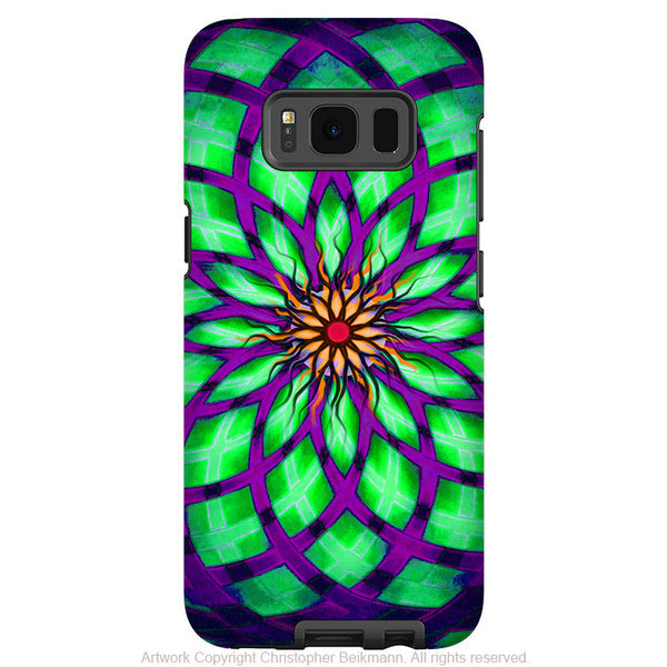 Geometric Lotus Flower - Artistic Samsung Galaxy S8 Tough Case - Dual Layer Protection - kalotuscope - Fusion Idol Arts