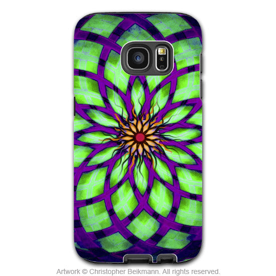 Green and Purple Abstract Galaxy S7 Case - Kalotuscope - Geometric Lotus Art Samsung Galaxy S7 Tough Case