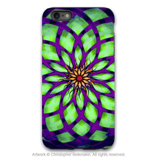 Lime Green and Purple Geometric iPhone 6 6s Plus TOUGH Case - Green Kalotuscope - Abstract Lotus Flower Dual Layer iPhone Case - iPhone 6 6s Plus Tough Case - 1