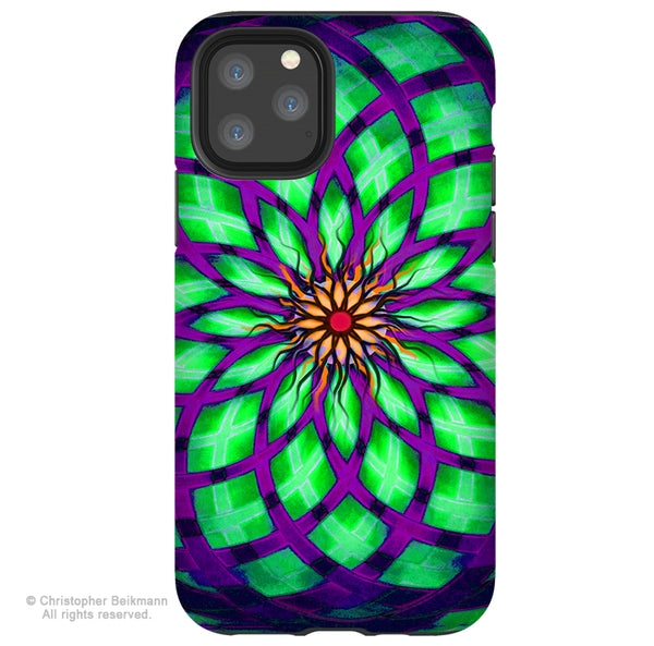 Kalotuscope - iPhone 11 / 11 Pro / 11 Pro Max Tough Case - Dual Layer Protection for Apple iPhone XI - Geometric lotus Art Case