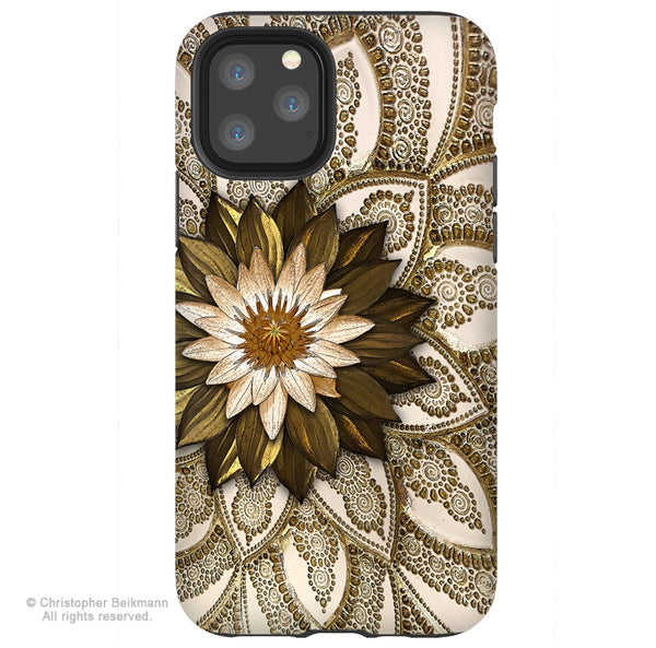 Levani Lotus - iPhone 11 / 11 Pro / 11 Pro Max Tough Case - Dual Layer Protection for Apple iPhone XI - Floral Art Case