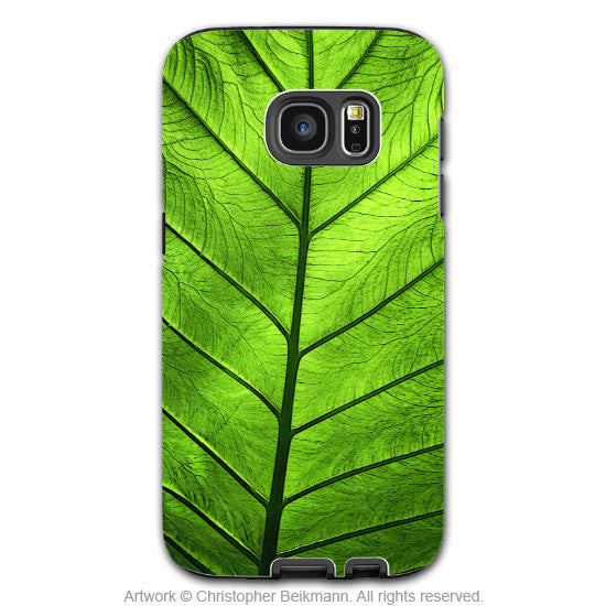 Green Leaf Galaxy S7 EDGE Case - Leaf of Knowledge - Tropical Foliage Lime Green S7 EDGE Tough Case - Galaxy S7 EDGE TOUGH Case - 1