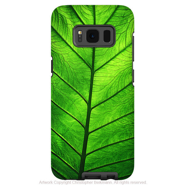 Tropical Green Leaf - Artistic Samsung Galaxy S8 PLUS Tough Case - Dual Layer Protection - leaf of knowledge - Fusion Idol Arts