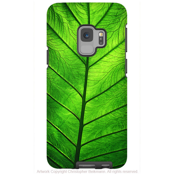 Leaf of Knowledge - Galaxy S9 / S9 Plus / Note 9 Tough Case - Dual Layer Protection for Samsung S9 - Green Leaf Art Case