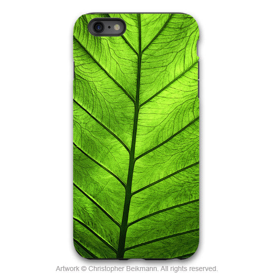 "Green Leaf iPhone 6 6s Plus TOUGH Case - Unique iPhone 6 6s Plus case with Zen Artwork ""Leaf of Knowledge"" by Da Vinci Case USA - iPhone 6 6s Plus Tough Case - 1"