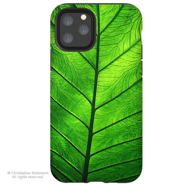 Leaf of Knowledge - iPhone 12 / 12 Pro / 12 Pro Max / 12 Mini Tough Case Tough Case - Dual Layer Protection for Apple iPhone XI - Tropical Green Leaf Art Case