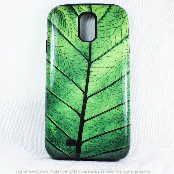 "Green Leaf Galaxy S4 case - TOUGH Style Protective Case - Artwork ""Leaf of Knowledge"" - Galaxy S4 TOUGH Case - 1"
