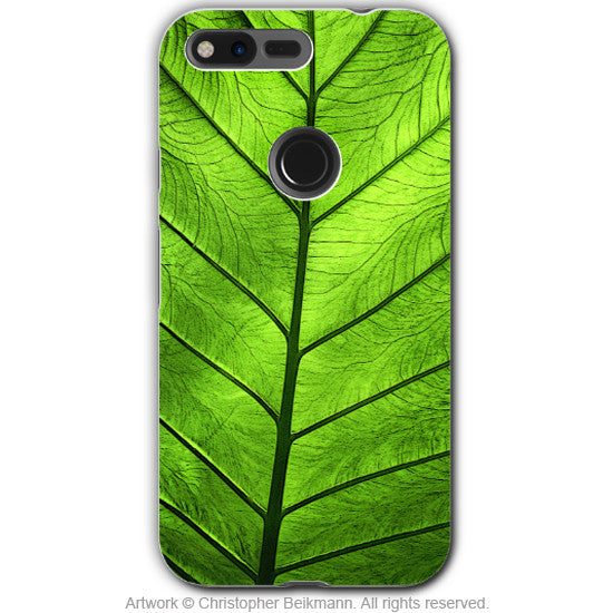 Tropical Green Leaf - Artistic Google Pixel Tough Case - Dual Layer Protection - leaf of knowledge