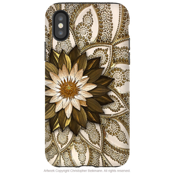 Levani Lotus - iPhone X / XS / XS Max / XR Tough Case - Dual Layer Protection for Apple iPhone 10 - Ivory and Gold Tone Lotus Flower Case