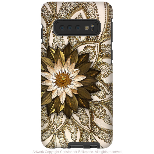 Levani Lotus - Galaxy S10 / S10 Plus / S10E Tough Case - Dual Layer Protection - Ivory and Gold tone Lotus Blossom Case