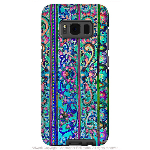 Colorful Floral Line Art - Artistic Samsung Galaxy S8 PLUS Tough Case - Dual Layer Protection - malaya - Fusion Idol Arts