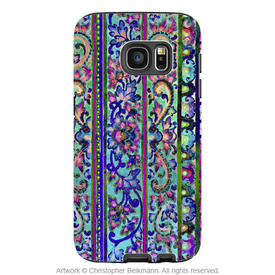 Floral Galaxy S7 Case - Artistic Pink and Blue Floral Samsung Galaxy S7 Tough Case - Malaya - Galaxy S7 TOUGH Case - 1