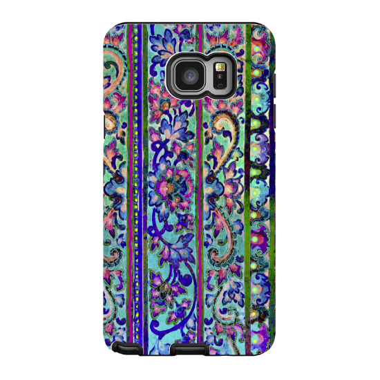 Floral Galaxy NOTE 5 Case - Artistic Pink and Blue Floral Samsung Galaxy NOTE 5 Tough Case - Malaya - Galaxy NOTE 5 TOUGH Case - 1