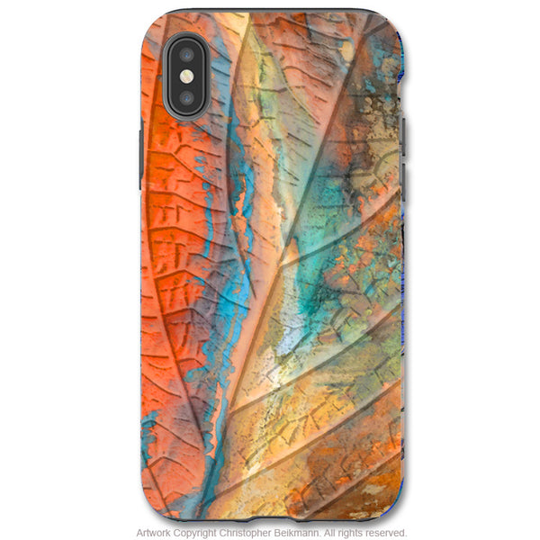 Marbled Leaf - iPhone X / XS / XS Max / XR Tough Case - Dual Layer Protection for Apple iPhone 10 - Colorful Abstract Leaf Art