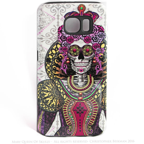 "Sugar Skull Queen Galaxy S6 TOUGH Case - ""Mary Queen of Skulls"" Renaissance Sugar Skull iPhone Case - Day of the Dead - Artistic Case For Galaxy S6 - Galaxy S6 TOUGH Case - 1"