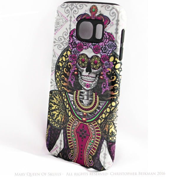 "Sugar Skull Queen Galaxy S6 TOUGH Case - ""Mary Queen of Skulls"" Renaissance Sugar Skull iPhone Case - Day of the Dead - Artistic Case For Galaxy S6 - Galaxy S6 TOUGH Case - 2"