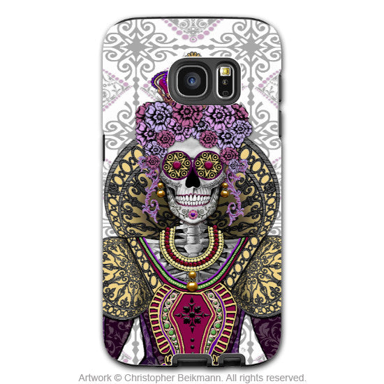 Sugar Skull Queen Galaxy S7 Case - Renaissance Days of the Dead S7 Case - Mary Queen of Skulls