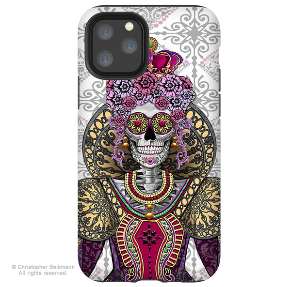 Mary Queen of Skulls - iPhone 11 / 11 Pro / 11 Pro Max Tough Case - Dual Layer Protection for Apple iPhone XI - Renaissance Sugar Skull