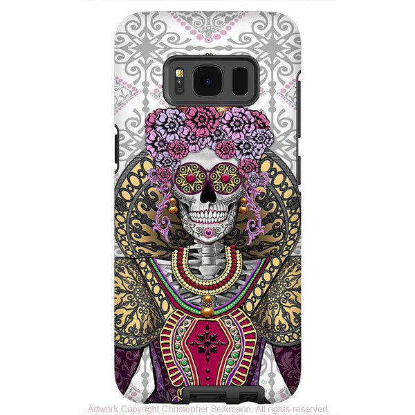 Sugar Skull Renaissance Queen - Artistic Samsung Galaxy S8 PLUS Tough Case - Dual Layer Protection - Mary Queen of Skulls - Fusion Idol Arts