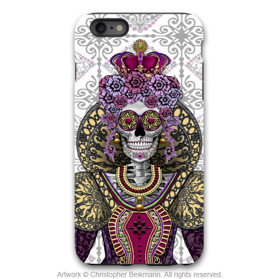 "Sugar Skull Queen iPhone 6 6s Plus TOUGH Case - ""Mary Queen of Skulls"" Renaissance Sugar Skull iPhone Case - Day of the Dead - Artistic Case for iPhone 6 6s Plus - iPhone 6 6s Plus Tough Case - 1"