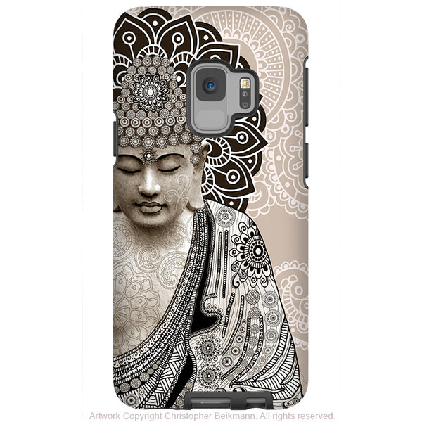 Meditation Mehndi - Paisley Buddha - Galaxy S9 / S9 Plus / Note 9 Tough Case - Dual Layer Protection for Samsung S9