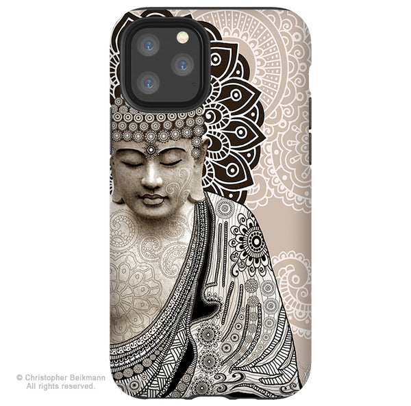Meditation Mehndi Buddha - iPhone 11 / 11 Pro / 11 Pro Max Tough Case - Dual Layer Protection for Apple iPhone XI - Paisley Buddha Art Case