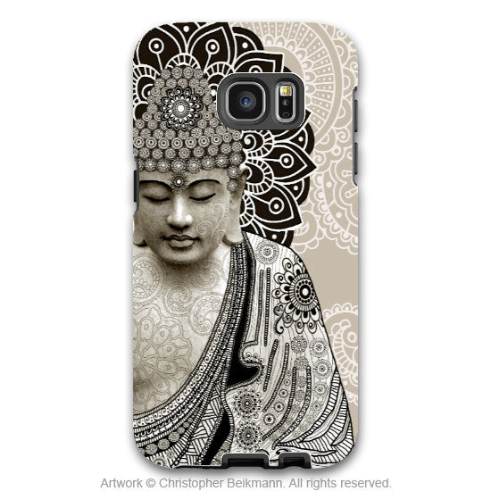 Paisley Buddha - Artistic Galaxy S6 EDGE TOUGH Case - Dual Layer Protection - Meditation Mehndi - Galaxy S6 Edge Tough Case - 1