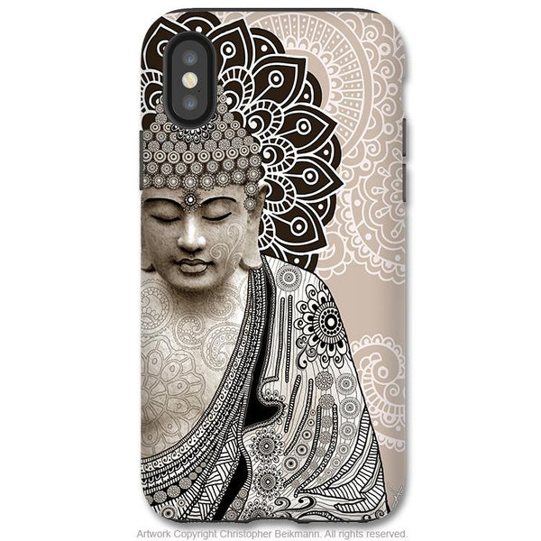 Meditation Mehndi Buddha - iPhone X / XS / XS Max / XR Tough Case - Dual Layer Protection for Apple iPhone 10 - Zen Buddhist Art Case - iPhone X Tough Case - Fusion Idol Arts - New Mexico Artist Christopher Beikmann
