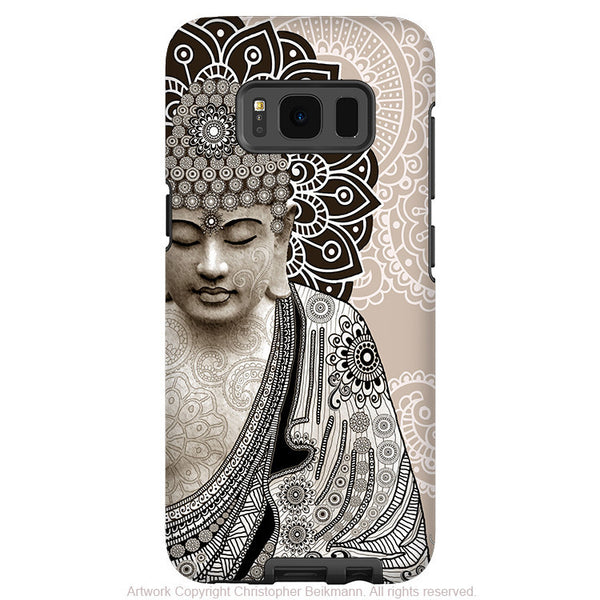 Paisley Buddha Neutral - Artistic Samsung Galaxy S8 PLUS Tough Case - Dual Layer Protection - meditation mehndi - Fusion Idol Arts