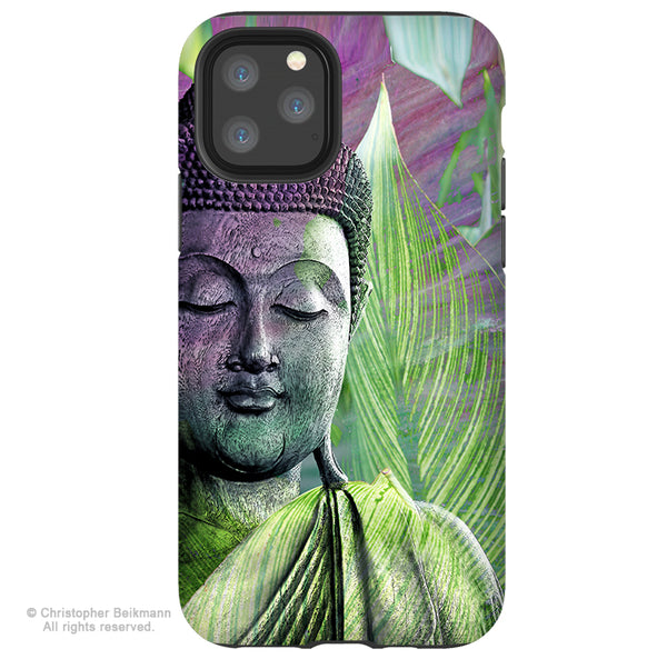 Meditation Vegetation- Green Buddha iPhone 12 / 12 Pro / 12 Pro Max / 12 Mini Tough Case Tough Case - Dual Layer Protection for Apple iPhone XI - Buddhist Case