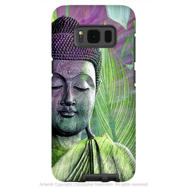 Green Buddha Face - Artistic Samsung Galaxy S8 PLUS Tough Case - Dual Layer Protection - meditation vegetation - Fusion Idol Arts